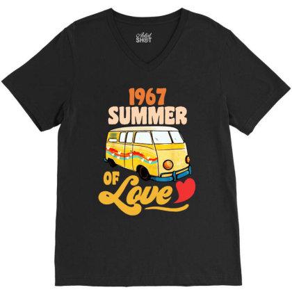1967 Summer Of Love Vintage V-neck Tee Designed By Dongdot Apparel