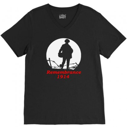 1914 Remembrance V-neck Tee Designed By Aheupote