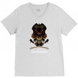 technics dj skull V-Neck Tee | Artistshot