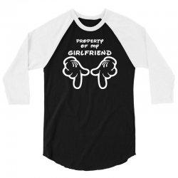 property of my girlfriend cartoon hands funny 3/4 Sleeve Shirt | Artistshot