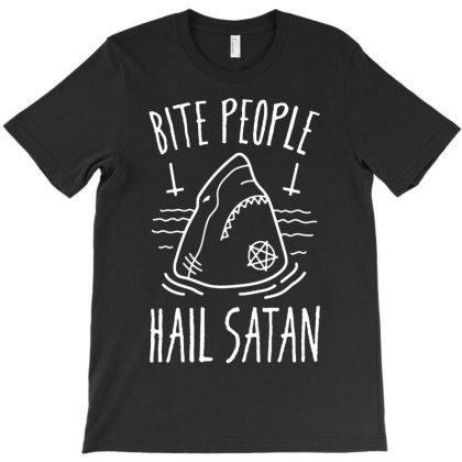 Bite People Hail Satan   Shark T-shirt Designed By Sakatiar