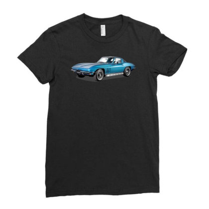 1965 Corvette Sting Ray Classic Car, Ideal Birthday Gift Or Pres Ladies Fitted T-shirt Designed By Rs Shop