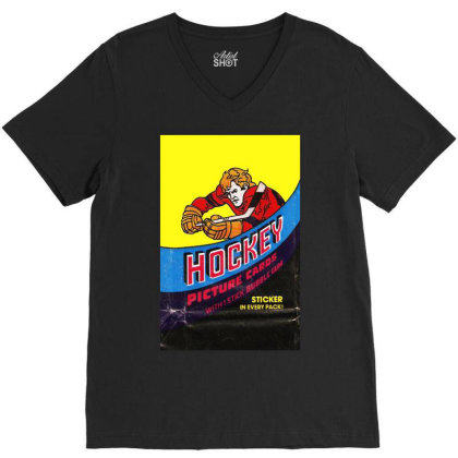 1978 Hockey Card Wrapper V-neck Tee Designed By Rs Shop