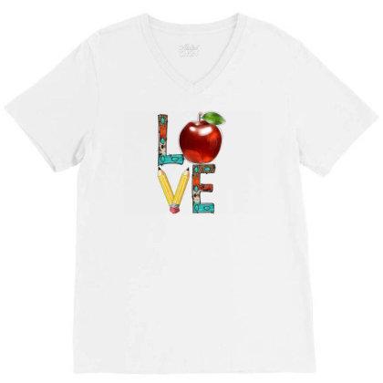 Love Teacher V-neck Tee Designed By Badaudesign