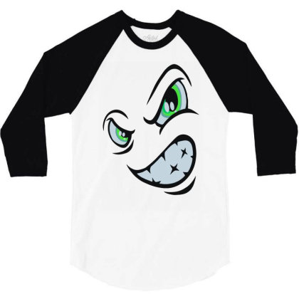 Angry Cartoon Face 3/4 Sleeve Shirt Designed By Rs Shop