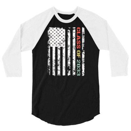 America Flag Class Of 2033 Graduation Kindergarten 3/4 Sleeve Shirt Designed By Rishart