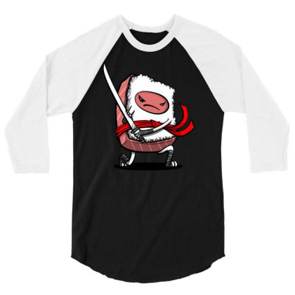 Funny Cute Sushi 3/4 Sleeve Shirt Designed By Willo
