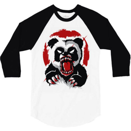 Angry Panda 3/4 Sleeve Shirt Designed By Rs Shop