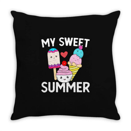My Sweet Summer Kawaii Ice Cream Throw Pillow Designed By William Art