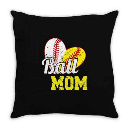 Funny Ball Mom Softball Baseball Throw Pillow Designed By Ninja Art