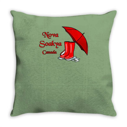 Nova Scotia, Nova Soakya, Canada, Umbrella And Rai Throw Pillow Designed By Garrys4b4