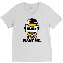 Blink if you want me V-Neck Tee   Artistshot