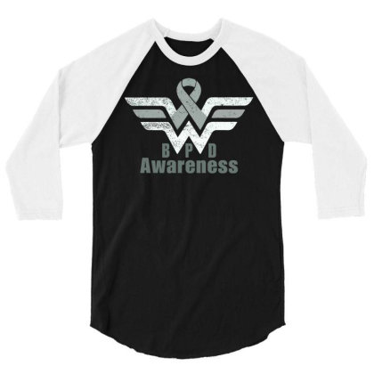 Borderline Personality Disorder (bpd) Gray Awareness Ribbon 3/4 Sleeve Shirt Designed By Hatta1976