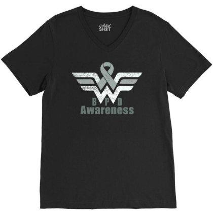 Borderline Personality Disorder (bpd) Gray Awareness Ribbon V-neck Tee Designed By Hatta1976