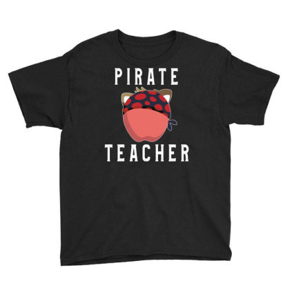 Funny Pirate Teacher Halloween Book Apple And Hat Teachers Youth Tee Designed By Rishart