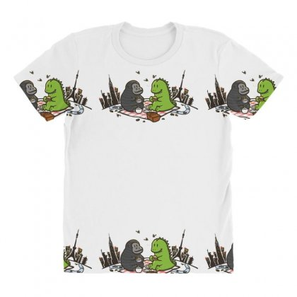 Godzilla By Kingkong Picnic All Over Women's T-shirt Designed By Gematees