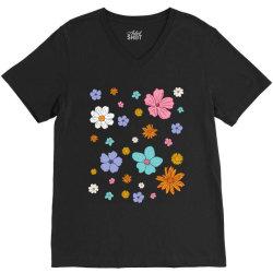 Abstract Floral Pattern V-Neck Tee | Artistshot