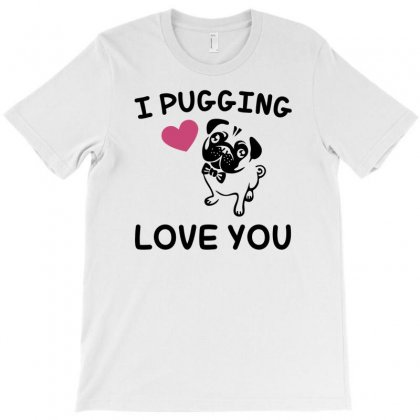 Love You  Pug T-shirt Designed By Gematees