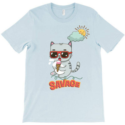 Summer Savage Cat T-shirt Designed By Artefact33
