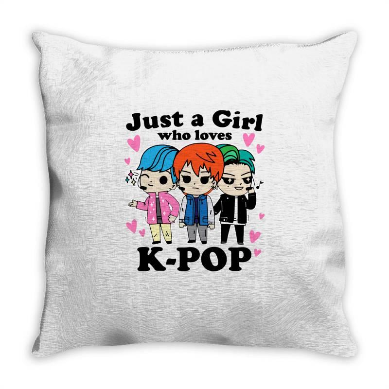 Korean Pop Just A Girl Who Loves Throw Pillow | Artistshot