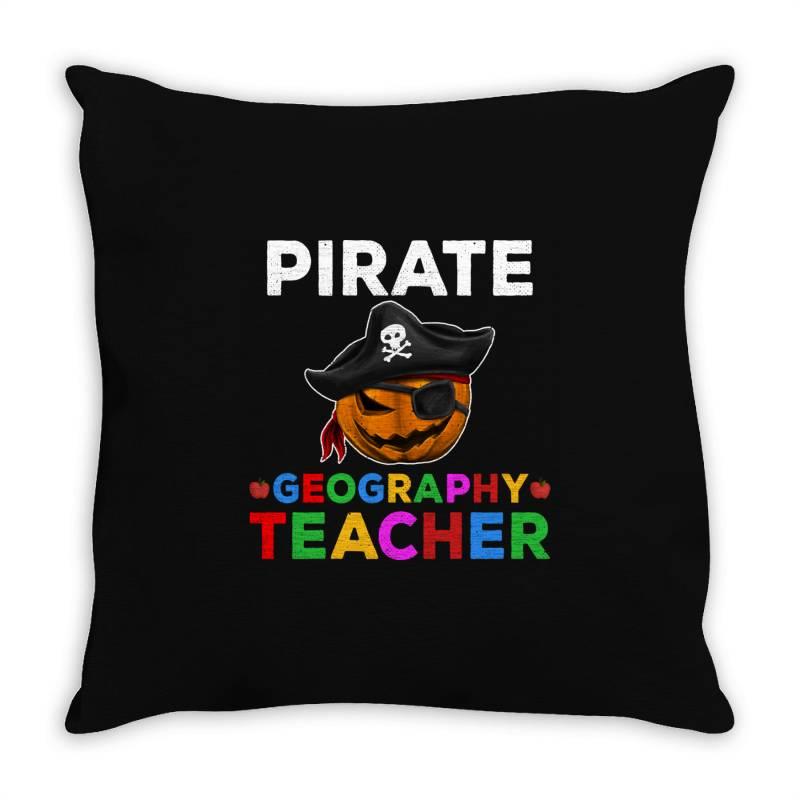Pirate Teacher Funny Halloween Gift For Geography Teacher Throw Pillow | Artistshot