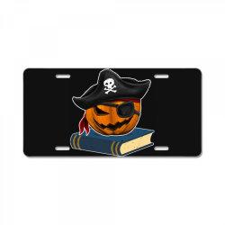 pirate pumpkin book reader gifts women men kids halloween License Plate | Artistshot