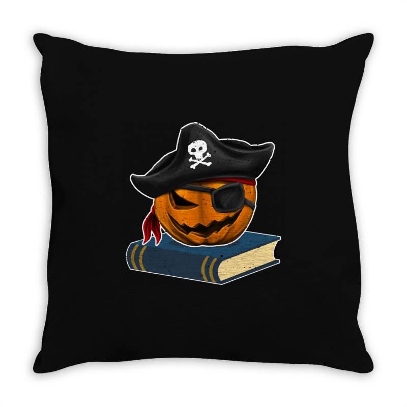 Pirate Pumpkin Book Reader Gifts Women Men Kids Halloween Throw Pillow   Artistshot