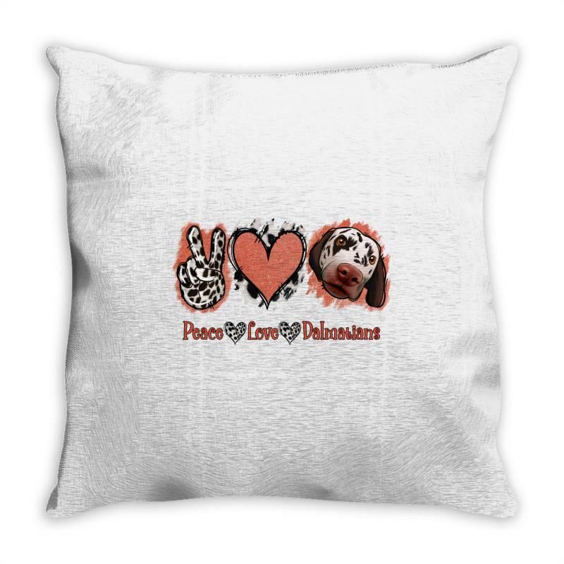 Peace Love Dalmatians Throw Pillow   Artistshot
