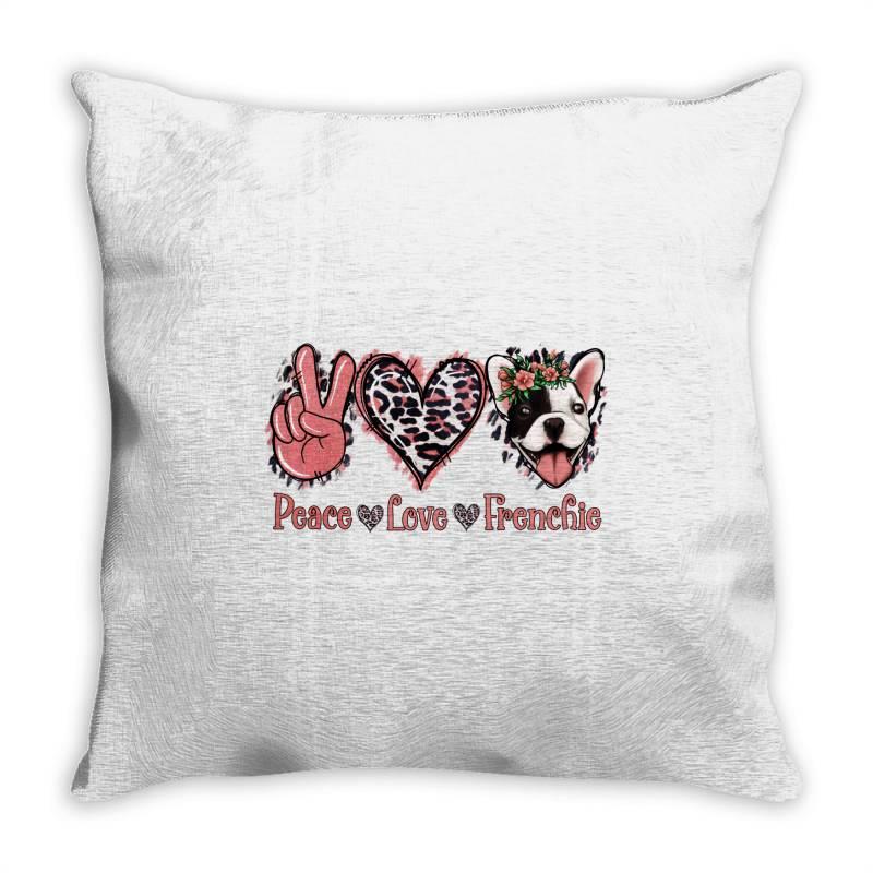 Peace Love French Bulldog Throw Pillow   Artistshot