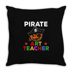 pirate teacher funny halloween party gift for art teacher Throw Pillow   Artistshot