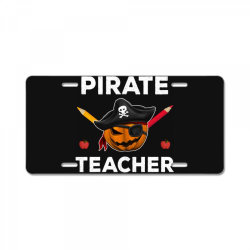 pirate teacher funny halloween party gift for teach dad mom License Plate | Artistshot