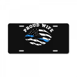 police officer wife thin blue line retro usa flag lips License Plate | Artistshot