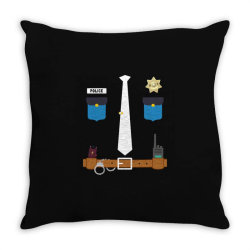 policeman funny halloween costume police officer awesome Throw Pillow   Artistshot