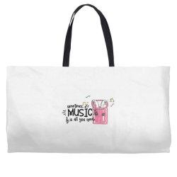 music brings peace of mind Weekender Totes | Artistshot