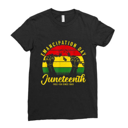 Juneteenth Emancipation Day Vintage Cool Melanin Black Pride Ladies Fitted T-shirt Designed By Conco335@gmail.com