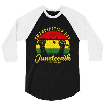 Juneteenth Emancipation Day Vintage Cool Melanin Black Pride 3/4 Sleeve Shirt Designed By Conco335@gmail.com