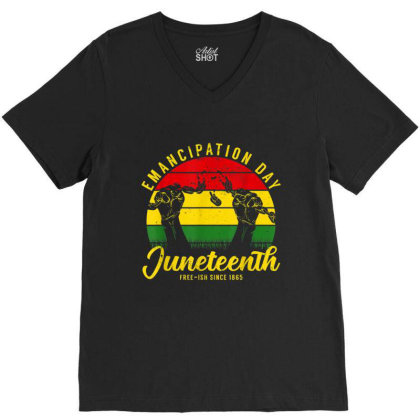 Juneteenth Emancipation Day Vintage Cool Melanin Black Pride V-neck Tee Designed By Conco335@gmail.com