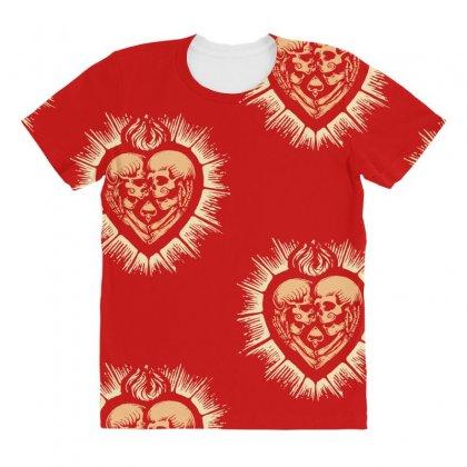 Sacred Heart Skull Lovers All Over Women's T-shirt Designed By Specstore