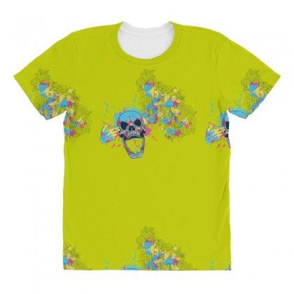 Cmyk Bang Skull All Over Women's T-shirt Designed By Specstore