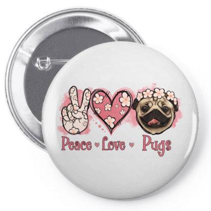 Peace Love Pugs Pin-back Button Designed By Jasminsmagicworld