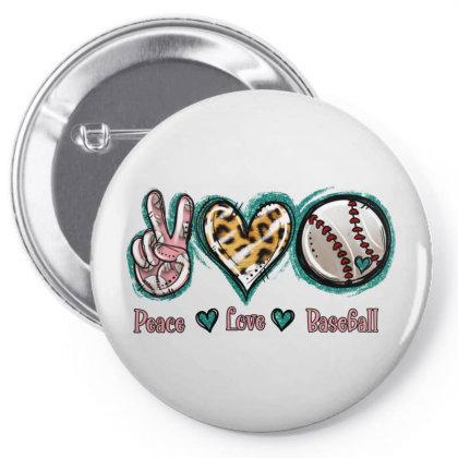 Peace Love Baseball Pin-back Button Designed By Jasminsmagicworld