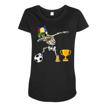 Soccer Player Kids Halloween Gifts Funny Dabbing Skeleton Maternity Scoop Neck T-shirt Designed By Rishart