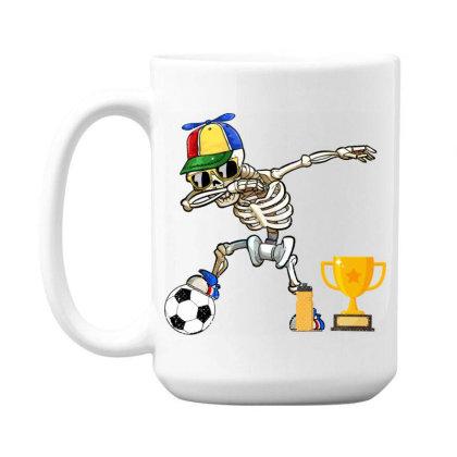 Soccer Player Kids Halloween Gifts Funny Dabbing Skeleton 15 Oz Coffee Mug Designed By Rishart