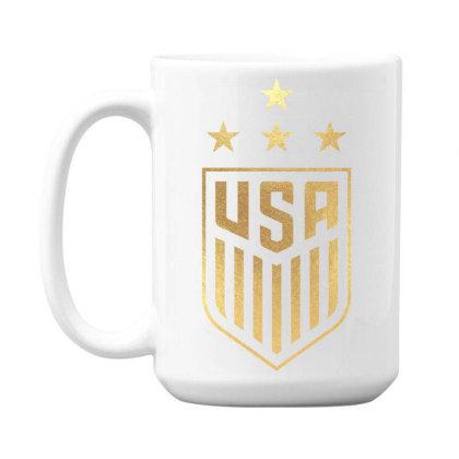 Uswnt 4 Star Crest Gold 15 Oz Coffee Mug Designed By Cosby