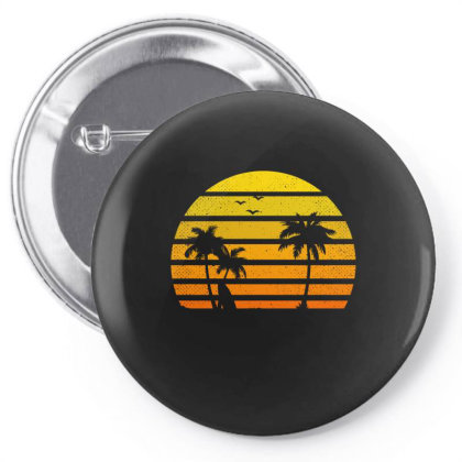 Surfing Lover Tee Vintage Sunset Vacay Mode Palm Pin-back Button Designed By Rishart