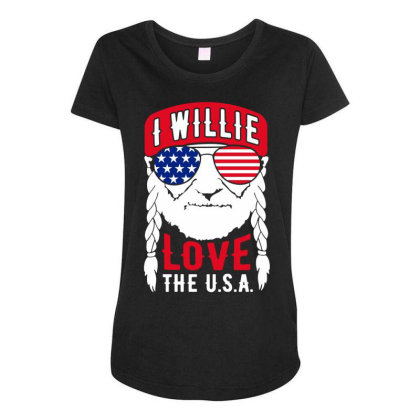 I Willie Love The Usa Maternity Scoop Neck T-shirt Designed By Cosby