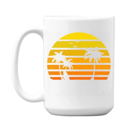 Surfing Lover Tee Vintage Sunset Vacay Mode Palm 15 Oz Coffee Mug Designed By Rishart