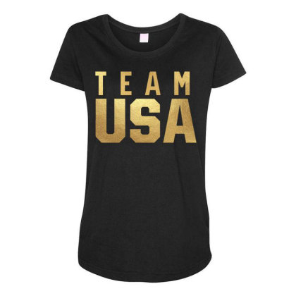 Usa Team Gold Maternity Scoop Neck T-shirt Designed By Cosby