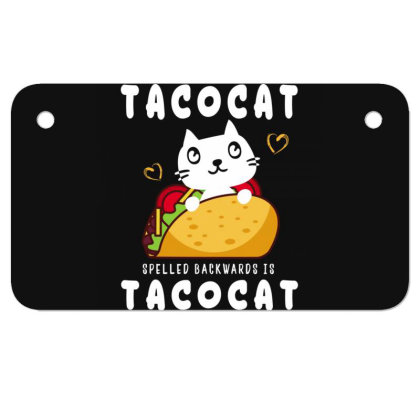 Tacocat Taco & Cat Lovers Funny Sayings Motorcycle License Plate Designed By Rishart