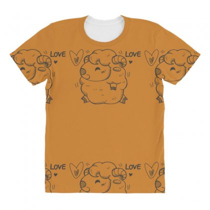 Happy Love And Life Sheep All Over Women's T-shirt Designed By Specstore